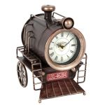 Steam Train Shaped Metal Mantel Table Clock Roman Numerals 24cm